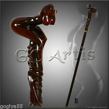 NAKED LADY GIRL SEXY WALKING STICK CANE HIKING STAFF AUTHORS HANDMADE BROWN