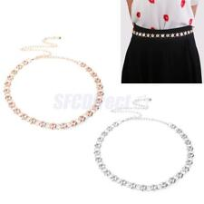 Women Bling Full Metal Chain Hip Waist Belt Gold Silver Rhinestone Waist Belts