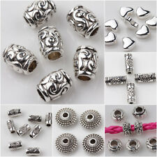 Lots 15/25/50pcs Loose Spacer Beads Tibet Silver Pendants DIY Finding Jewelry