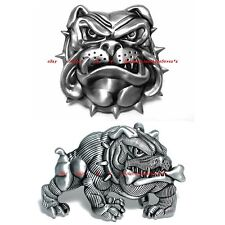 BBUM0064 BULLDOG MUSCULAR HEAVY DOG WRINKLED FACE SPIKE COLLAR ALLOY BELT BUCKLE
