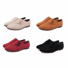 New Womens Ladies Casual Shoes Classics Lace Ups Dress Oxfords Low Flats Heel