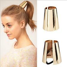 Hair Cuff Metal Pony Tail Ring Wrap Curved Gothic Punk Head Band Holder Elastic