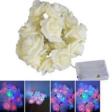 20 LED Rose Christmas Decoration Flower Fairy Wedding Garden Party Fairy Lights