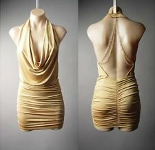 Low-Cut Plunge Neck Gold Chain Open Back Backless Club Mini 149 mv Dress S M L
