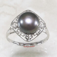 14k Solid White Gold 9-9.5mm Black Cultured Pearl Solitaire Ring TPJ