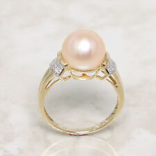 14k Solid Yellow Gold Genuine AAA Pink Cultured Pearl Diamonds Cocktail Ring TPJ