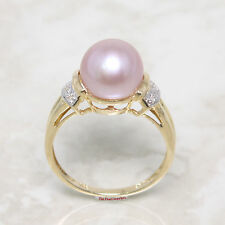 14k Solid Yellow Gold Genuine AAA Lavender Cultured Pearl Diamonds Ring TPJ