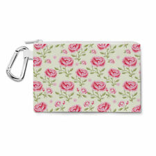 Pink Roses with Green Leaves Canvas Zip Pouch - Pencil Case Multi Purpose Makeup