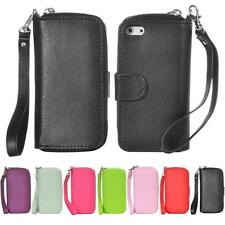 For iPhone 5 5G 5S Magnetic Zip Leather Card Case Cover Flip Wallet