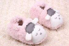 Baby Girls Fluffy Pink White Sleepy Sheep Pre Walkers Shoes Slippers