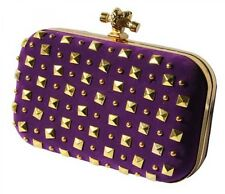 Gorgeous Royal Purple Evening Ladies Purse Bag With Gold Toned Studs