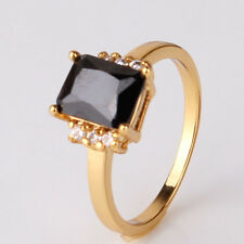 Fashion jewellery! Real yellow gold filled black sapphire HOT ring Sz5-Sz9