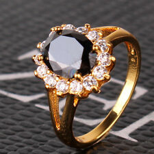 Nice gift ! Lady black sapphire Real  yellow gold filled smart ring Sz5-Sz9