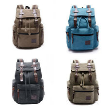 Unisex Vintage Canvas Leather Hiking Travel Military Backpack Messenger Bag New