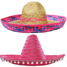 PINK SOMBRERO HAT MEXICAN STRAW ACCESSORY HOLIDAY HEN STAG BANDIT FANCY DRESS