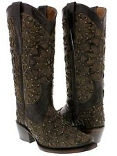 Women's Brown Vitralli Studded Western Cowboy Boots Leather Cowgirl Rodeo New