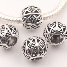10/20Pcs Hollow Out Carving Round Tibet Silver Loose Spacer Charms Beads 10mm