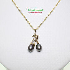 14K Solid Yellow Gold Dolphin Diamond & Two Black Freshwater Pearls Pendent