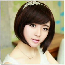 Womens Fashion Party Cosplay Wigs Black/Brown Full Short BOB Straight Wig Hair