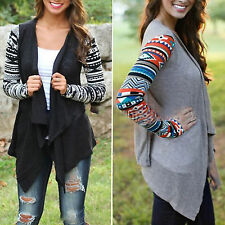Womens Aztec Long Sleeve Waterfall Draped Cardigan Irregular Hem Cotton Outwear