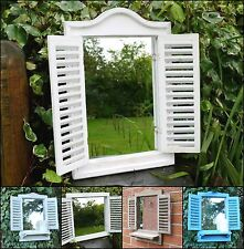 WOODEN INDOOR OUTDOOR SHABBY CHIC RUSTIC FRENCH SHUTTER STYLE MIRROR WITH SHELF