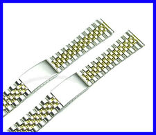 18mm 20mm Stainless Steel 2 Tone Flat End Jubilee Watch Band Bracelet