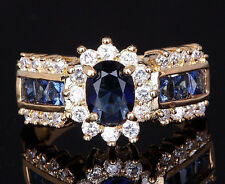 luxury 18K vintage art  Womens Blue Sapphire gold Filled Wedding Rings Bridal