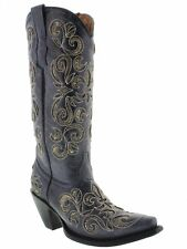 Womens Blue Python Snake Flower Western Tall Leather Cowboy Boots Rodeo Cowgirl