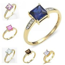 Emerald Cut Size 6,7,8,9,10 Sapphire Emerald 10K Gold Filled Womens Wedding Ring