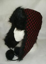 LADIES GIRLS TRAPPER HAT WOOL BLEND GREY OR BLACK WITH HEARTS FAUX FUR TRIM
