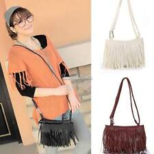 Girl Women Vintage Punk Leather Tassel Fringe handbag Shoulder Cross Body Bag