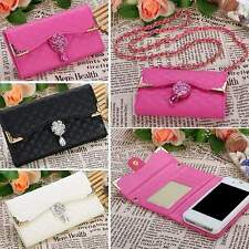 Bling Diamond PU Leather Flip Wallet Card Holder Handbag Case Cover For iPhone P