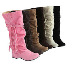 Womens Knee Faux Suede Stretch Thigh High Slouchy Flat Hidden Heel Boots Shoe