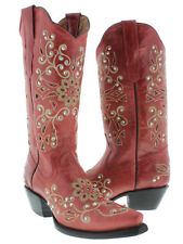 Womens Red Python Inlay Rhinestone Western Leather Cowboy Boots Rodeo Cowgirl