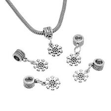 Wholesale Silver Charm Dangle Beads Christmas Snowflake Fit Charm Bracelets