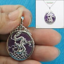 Sterling Silver 925 Dragon Carving On 27mm Lavender Jade Cabochon Pendant