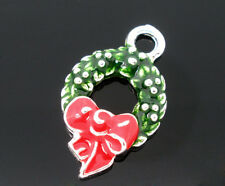 Wholesale Silver Enamel Christmas Wreath Charm Pendants Findings 25*15mm