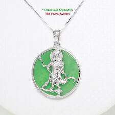 Solid Sterling Silver 925 Guan Gong on a 28mm Tablet Green Jade Pendant