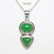 Solid Sterling Silver 925 Oval & Triangle Shaped Green Jade Pendant