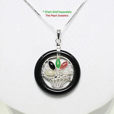 Solid Sterling Silver 925 Multi-Color Jade Flower-Baskets Black Onyx Pendant TPJ