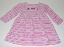 EUC Le Top boutique infant baby girls pink striped birthday party dress sz 18m