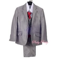 5 pcs Formal Tux Suit Waistcoat Wedding Occasion Dinner Page Boy Size 1-6y ST036
