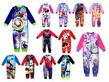 Kids Boys Girls Fleece Character Onesie Pyjamas Childrens Pj's Size UK 1-8 Years