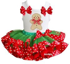 Green Red Satin Trimmed Tutu Xmas Gingerbread Man White Tank Top Party Dress