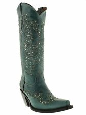 Womens Turquoise Tall Studded Leather Western Cowboy Cowgirl Boot Rodeo Riding