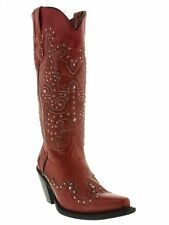 Womens Red Tall Studded Leather Western Cowboy Cowgirl Boots Rodeo Riding