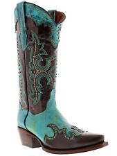 Women's Brown Turquoise Studded Western Leather Cowboy Cowgirl Rodeo Boots