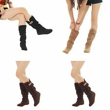 FASHION LADIES WOMENS SLOUCH MID CALF LACE CUFF LOW HEEL WOOL LINED BOOTS SHOES