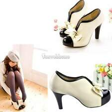 Women Beige Sexy High Heel Tie Platform Bow Pump Fashion Ankle Shoes Boots SH