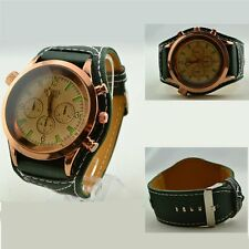 Fashion Mens Faux Leather three eye big Dial Sport Analog Quartz Wrist Watch New
